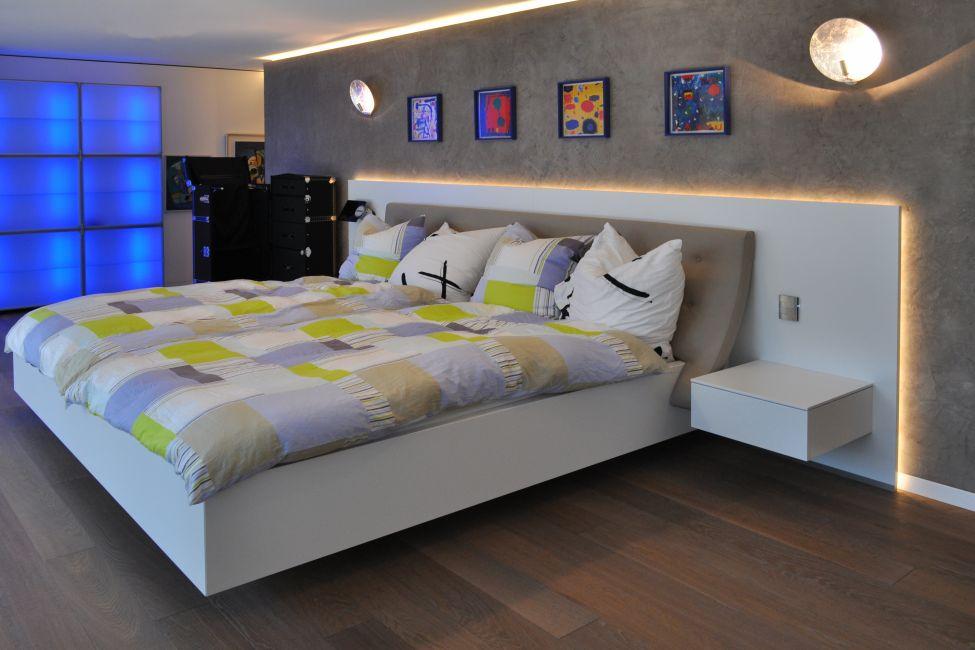 Bett Mit Rcken Rckenplatte Mit Indirekter Beleuchtung With Kopflehne Frs  Bett